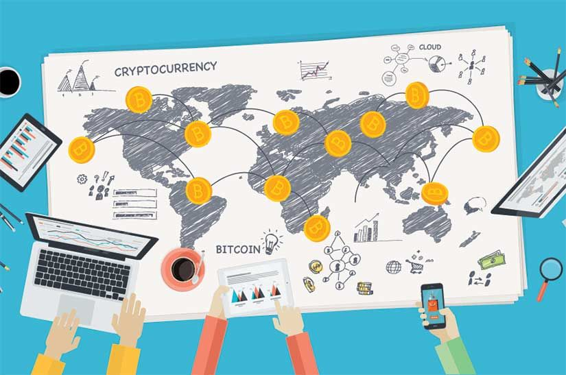 World map with bitcoin