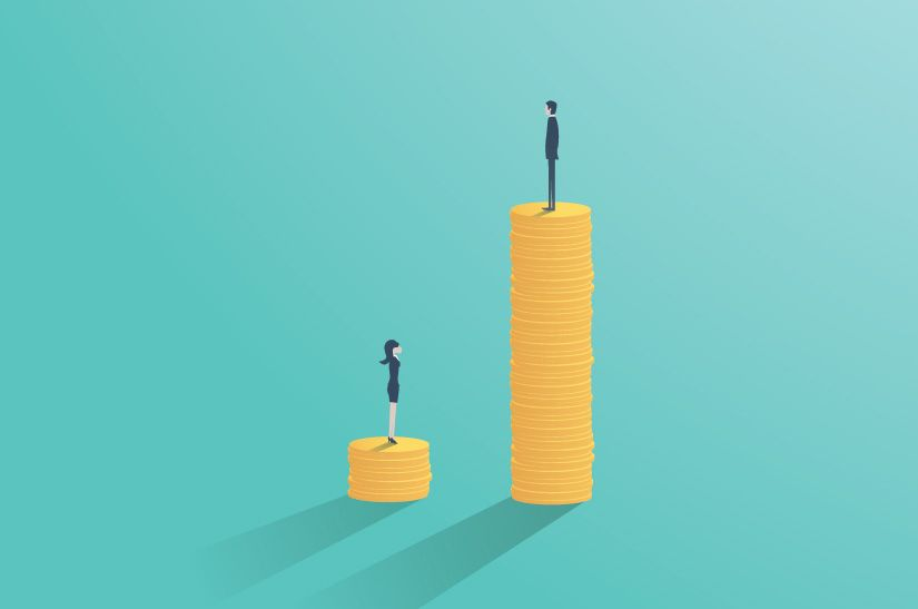 A man and woman standing on piles of money. The man's pile is much taller.