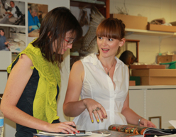 QUT Interior Design Students Rebecca Shaw And Simone Lockley At The Queensland Museum