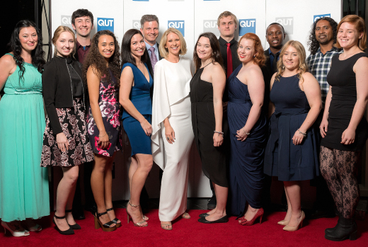 Tracey Spicer with recipients of the QUT Learning Potential Fund at the 2015 Riverfire Celebration