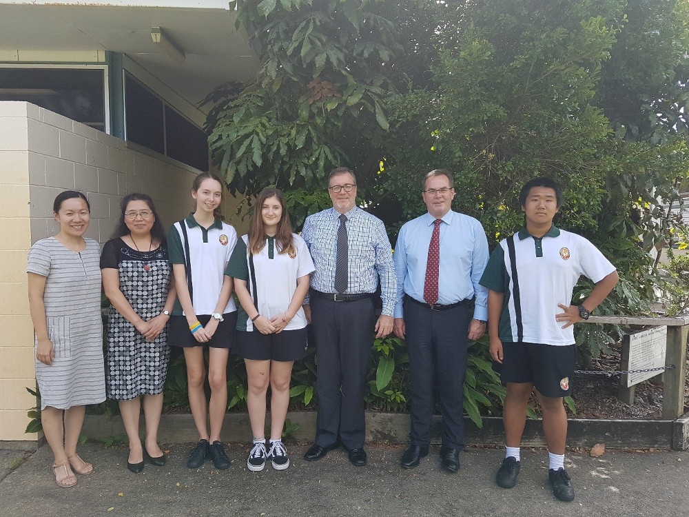 IMAGE: CIQ Team with Principal Chris Tobin, Confucius Classroom Coordinator Lu Wang and students