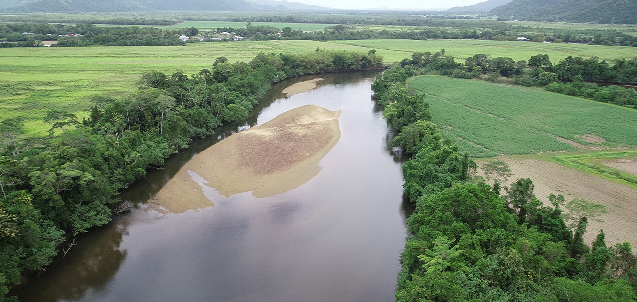 drone image of Mulgrave River