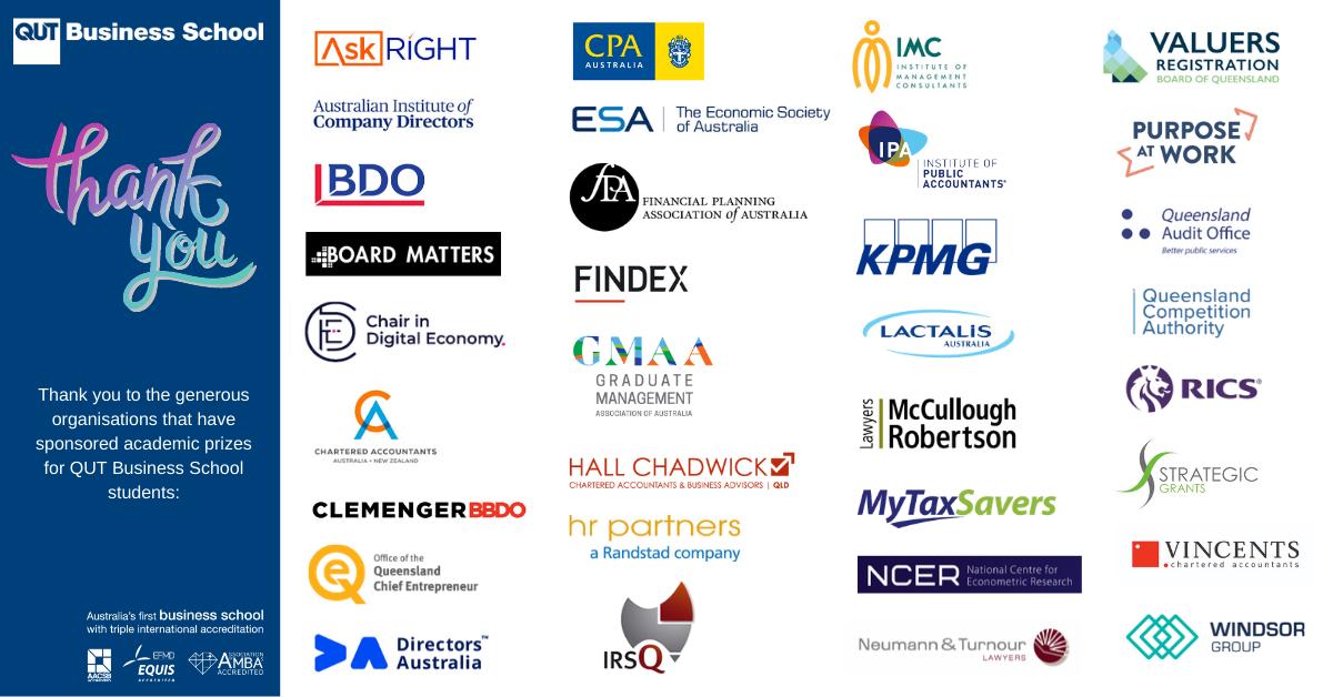 QUT Business School prize sponsor logos