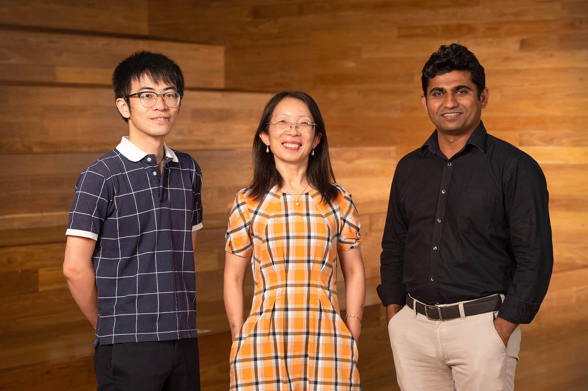 From left, Dr Chao Zang, Professor Hongxia Wang and Dr Deepak Dubal.