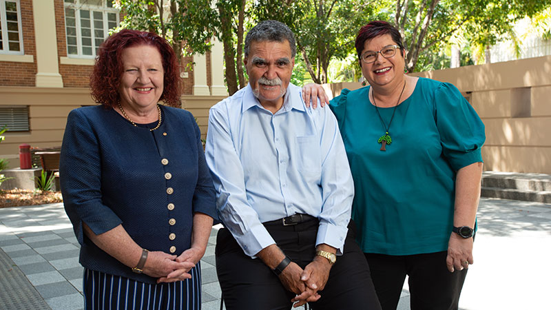 QUT Vice-Chancellor and President Professor Margaret Sheil AO, Elder-in-Residence Uncle Cheg, and Pro Vice-Chancellor (Indigenous Strategy) Angela Barney-Leitch